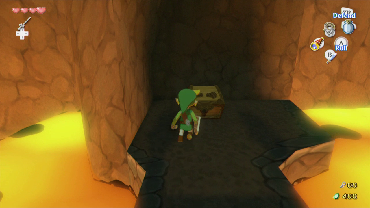 The wind waker walkthrough dragon roost cavern zelda dungeon head up the stairs here and jump onto the suspended platform stand in the exact middle of the platform and use a spin attack to cut all three ropes mozeypictures Image collections