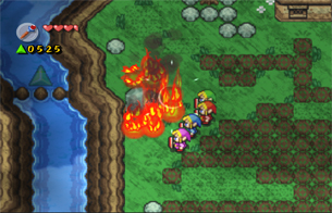 Use the Fire Rod to burn the tree stumps