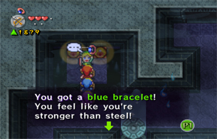Grab the Blue Bracelet after hitting the switches