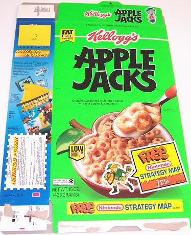 Apple Jacks 1993 Zelda Cereal Box