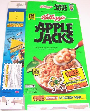 Apple Jacks 1993 Zelda Cereal Box