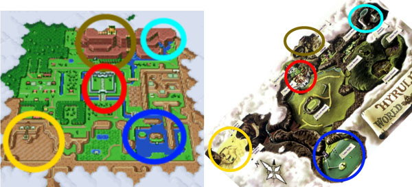 Ocarina of Time A Link to the Past Map Comparison