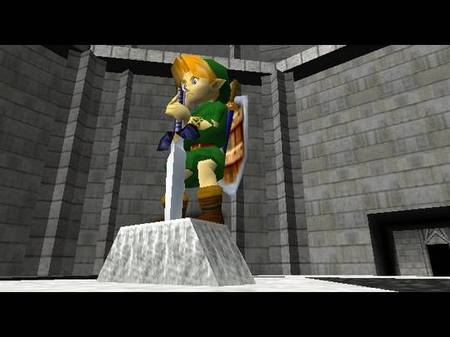 Link Pulling the Master Sword