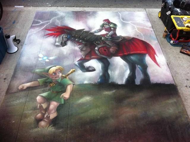 Ocarina of Tme Chalk Painiting