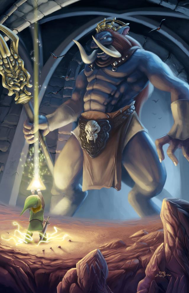 Ganon and Link in Original Legend of Zelda