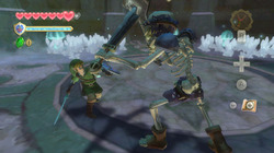 Check out the trimmed-down HUD in this screen of Link battling a Stalfos