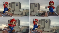 Mario posing by the shuttle assembly building