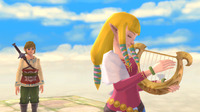 Zelda starts off as the protector of the Goddess Harp, but once she's out of the picture it's up to you to use its powers to defeat the evil down below