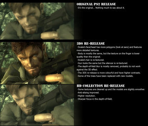 Metal Gear: Snake Eater 3D Screenshot Compared to PS2 Release and HD Rerelease