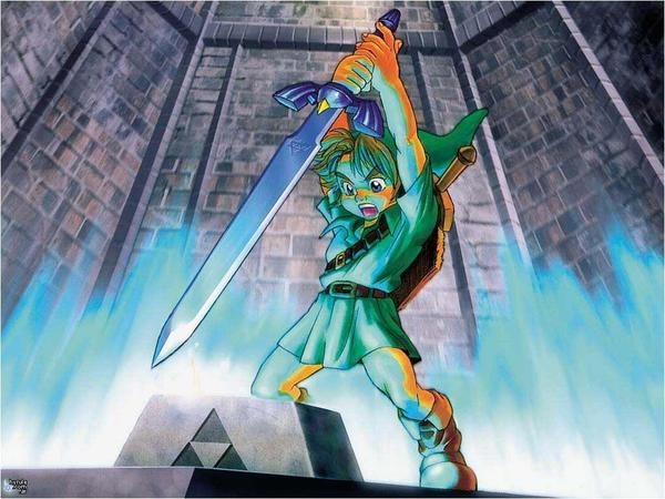 Link pulls the Master Sword from its pedestal
