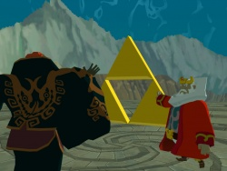 King Daphnes touches the Triforce before Ganondorf