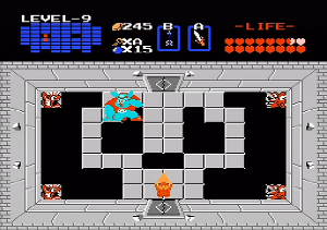Link, armed with the Triforce of Wisdom, prepares to fight Ganon