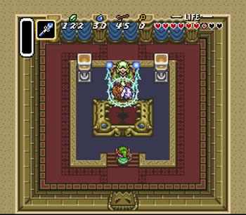 Agahnim sends Zelda to the Dark World