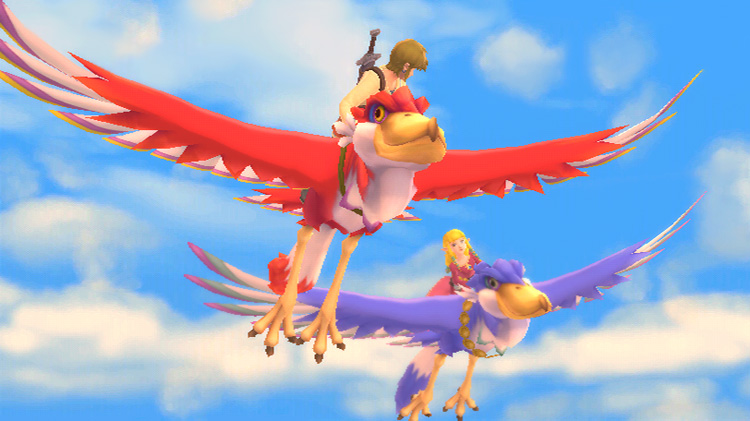 Zelda and Link flying in Skyward Sword