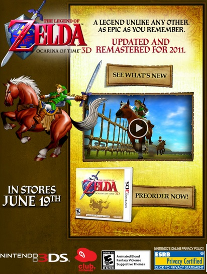 Ocarina of Time 3D Promotional Email