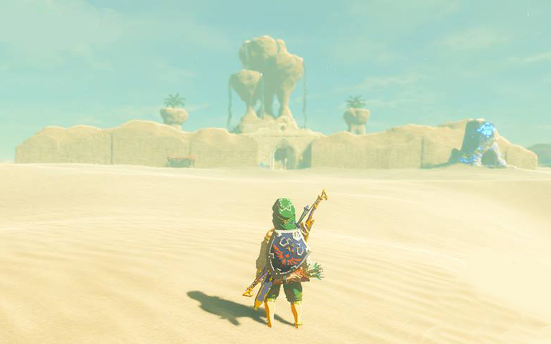 Link looking at Gerudo Town in the distance