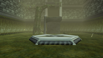 The Entrance To The Forest Temple, With The Platform Where Link Warps To Infront