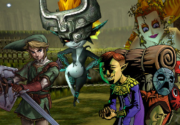 Link, Midna, the Happy Mask Salesman, and the Great Fairy of Magic, all in the Kokiri Forest