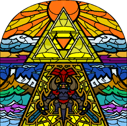 Ganon and the Triforce depicted in stained glass