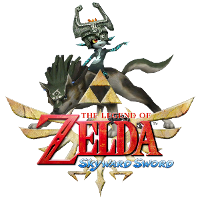 Midna riding Wolf Link and the Skyward Sword logo