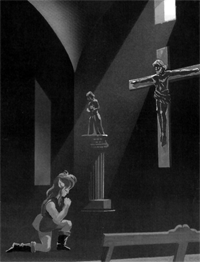 Link praying in front of a cross, an official image from an Adventure of Link manual