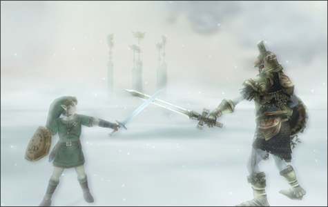 The Hero's Shade passes on his knowledge to Link, from Twilight Princess