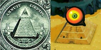 The Eye of Providence, a popular symbol for the Illuminati, compared with the eye of Majora's Mask and the Pyramid