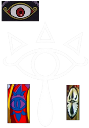 The Sheikah Eye compared with (going counter-clockwise starting from the top) Vaati's eye, the eye on Agahnim's clothes, and the eye on Ganondorf's door in The Wind Waker