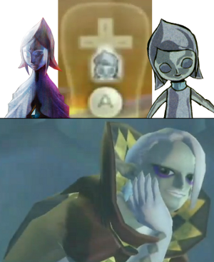 The original Skyward Sword, the Fairy Queen, and the new character. Compare them with the icon.