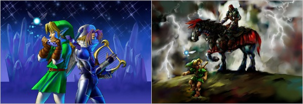 Official artwork of two totally different and varied scenes from Ocarina of Time.
