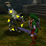 Link Z-targeting a Wolfos in the Forest Temple