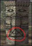 One of the pillars near Ikana Canyon in Termina Field, with the Triforce