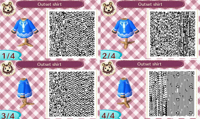 QR Code For Link's Outset Shirt Available In Animal Crossing New Adorable Animal Crossing New Leaf Sewing Machine Qr Codes