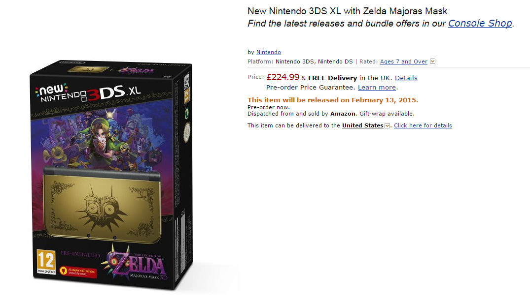 new nintendo 3ds xl majora s mask limited edition available for pre